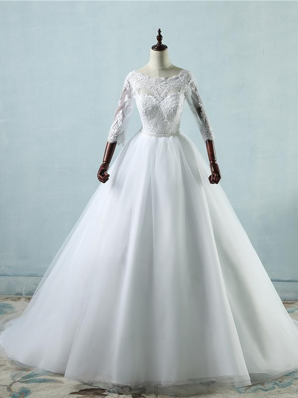 BohoProm Wedding Dresses A-line Scoop-Neck Chapel Train Tulle Lace White Wedding Dresses With Pearls ASD26964