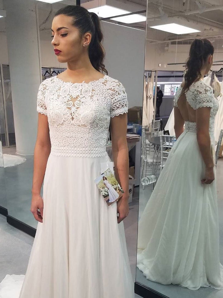 BohoProm Wedding Dresses A-line Scoop-Neck Sweep Train Chiffon Lace Wedding Dresses SWD016