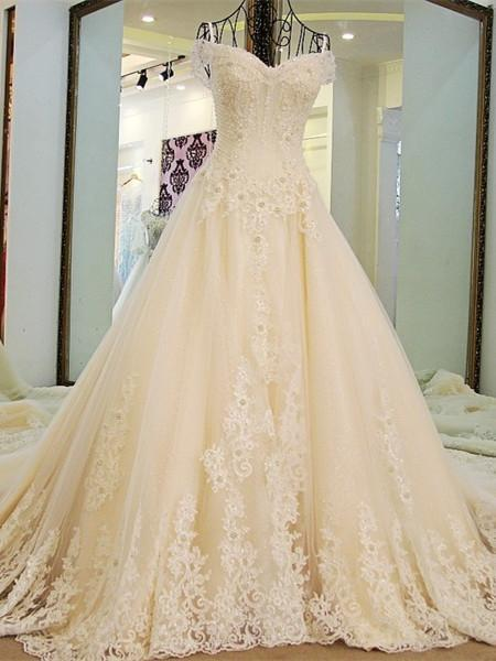 BohoProm Wedding Dresses A-line Spaghetti Strap Cathedral Train Tulle Lace Beaded Wedding Dresses ASD2626