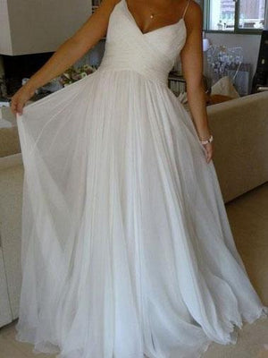 BohoProm Wedding Dresses A-line Spaghetti Strap Chapel Train Chiffon Simple Wedding Dresses SWD024