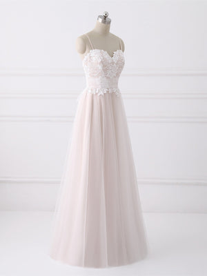 BohoProm Wedding Dresses A-line Spaghetti Strap Floor-Length Tulle Lace Wedding Dresses  SWD034