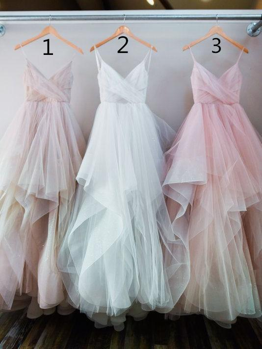 BohoProm Wedding Dresses A-line Spaghetti Strap Floor-Length Tulle Wedding Dresses ASD2549