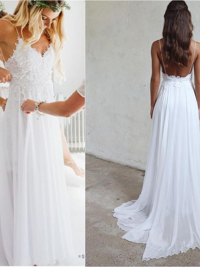 BohoProm Wedding Dresses A-line Spaghetti Strap Sweep Train Chiffon Appliqued  Wedding Dresses ABC0003