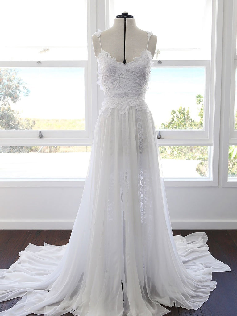 BohoProm Wedding Dresses A-line Spaghetti Strap Sweep Train Chiffon Lace Wedding Dresses SWD023
