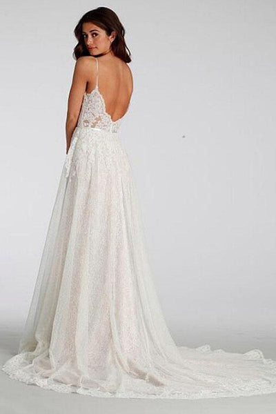 BohoProm Wedding Dresses A-line Spaghetti Strap Sweep Train Lace Simple Wedding Dresses HX00169