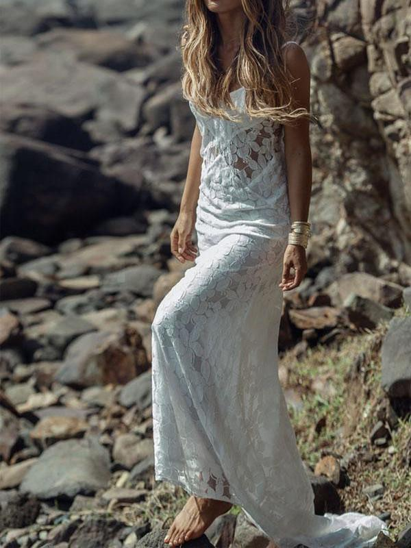 BohoProm Wedding Dresses A-line Spaghetti Strap Sweep Train Lace Simple Wedding Dresses HX00170
