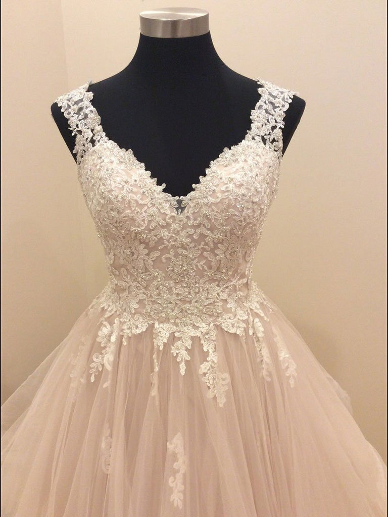 BohoProm Wedding Dresses A-line Spaghetti Strap Sweep Train Organza Appliqued Beaded Wedding Dresses SWD013