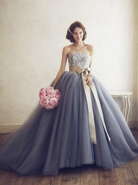 BohoProm Wedding Dresses A-line Straight Across Sweep Train Tulle Beaded Appliqued Weddding Dresses  ASD26751