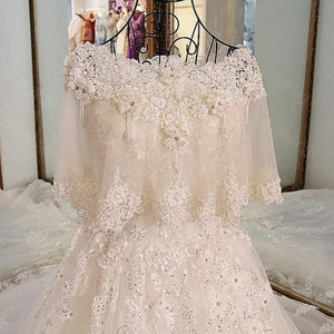 BohoProm Wedding Dresses A-line Sweetheart Cathedral Train Tulle Beaded Lace Wedding Dresses ASD2633