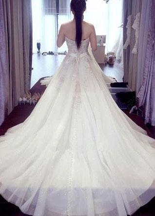 BohoProm Wedding Dresses A-line Sweetheart Chapel Train Tulle Beaded Wedding Dresses SWD028