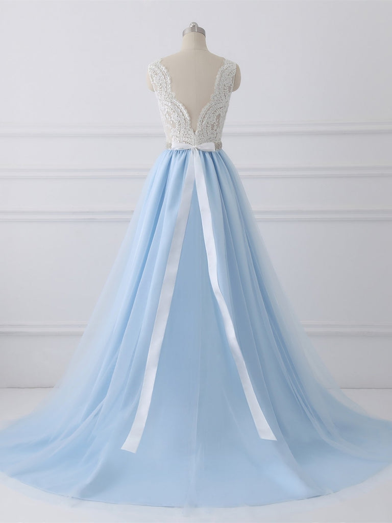 BohoProm Wedding Dresses A-line Sweetheart Chapel Train Tulle Lace Beaded Wedding Dresses SWD018