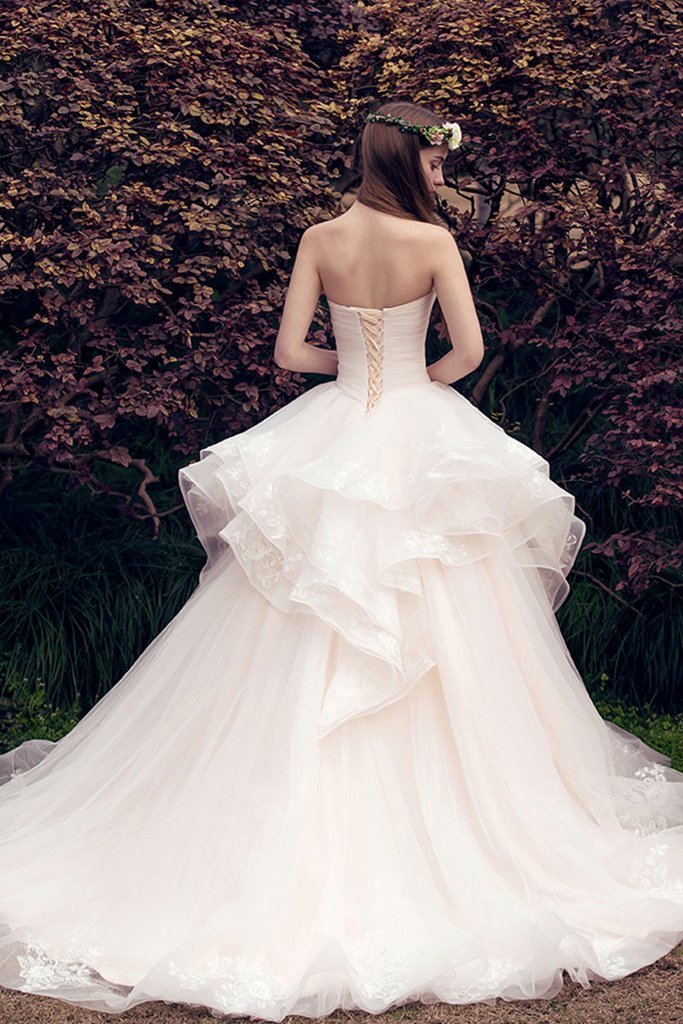 BohoProm Wedding Dresses A-line Sweetheart Chapel Train Tulle Lace Wedding Dresses ASD27011