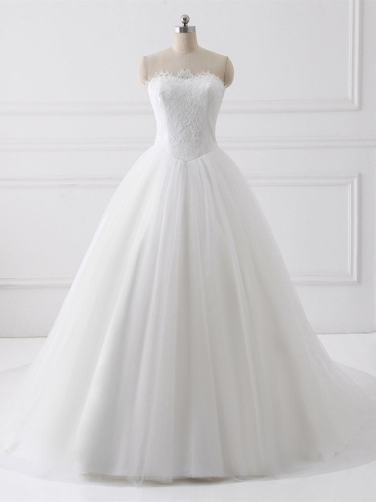 BohoProm Wedding Dresses A-line Sweetheart Chapel Train Tulle Lace Wedding Dresses SWD017