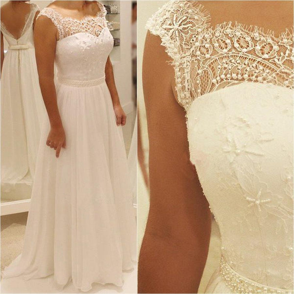 BohoProm Wedding Dresses A-line Sweetheart Floor-Length Chiffon Lace Beaded  Wedding Dresses ABC0001
