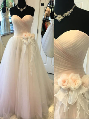 BohoProm Wedding Dresses A-line Sweetheart Floor-Length Tulle Wedding Dresses With Flowers SWD008