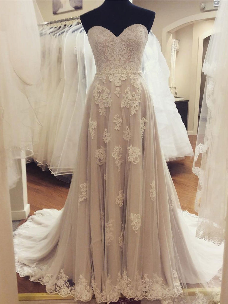 BohoProm Wedding Dresses A-line Sweetheart Sweep Train Tulle Lace Beaded Wedding Dresses SWD014