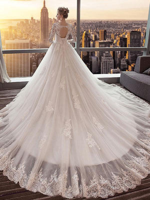 BohoProm Wedding Dresses A-line V-neck Cathedral Train Tulle Appliqued Long Wedding Dresses SWD044