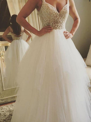BohoProm Wedding Dresses A-line V-neck Floor-Length Tulle Lace Long Ivory Wedding Dresses HX0053