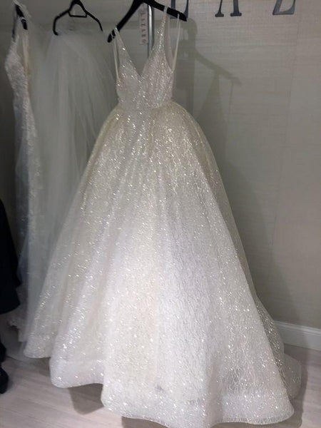 BohoProm Wedding Dresses A-line V-neck Floor-Length Tulle Wedding Dresses With Sequins HX0066