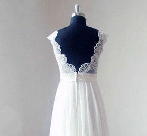 BohoProm Wedding Dresses A-line V-neck Sweep Train Chiffon Lace Simple Wedding Dresses ABC00014
