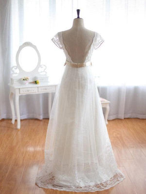 BohoProm Wedding Dresses A-line V-neck Sweep Train Chiffon Lace Wedding Dresses ASD26764