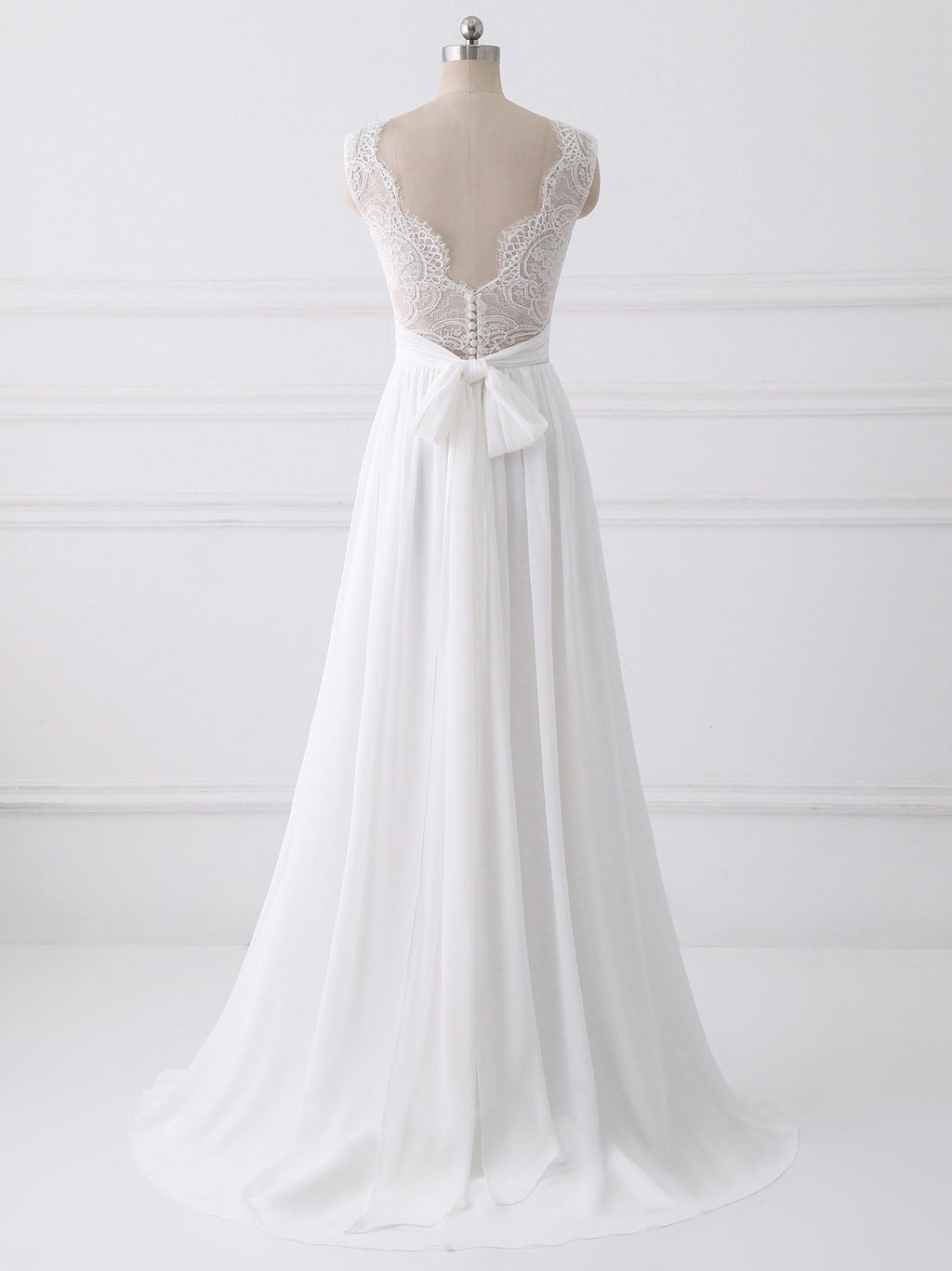 BohoProm Wedding Dresses A-line V-neck Sweep Train Chiffon Lace Wedding Dresses With Bows SWD035