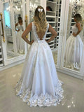 BohoProm Wedding Dresses A-line V-Neck Sweep Train Tulle Appliqued Beaded Wedding Dresses SWD009