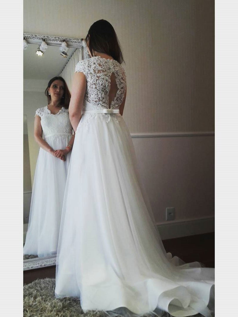 BohoProm Wedding Dresses A-line V-Neck Sweep Train Tulle Appliqued Wedding Dresses SWD003