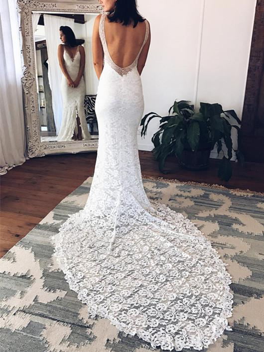 BohoProm Wedding Dresses Alluring Lace V-neck Neckline Sheath Wedding Dresses With Slit WD074