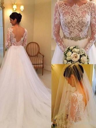 BohoProm Wedding Dresses Alluring Tulle & Lace Scoop Neckline A-line Wedding Dresses With Beadings WD047