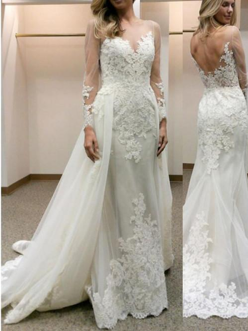 BohoProm Wedding Dresses Alluring Tulle Scoop Neckline Long Sleeves Sheath Wedding Dresses WD138