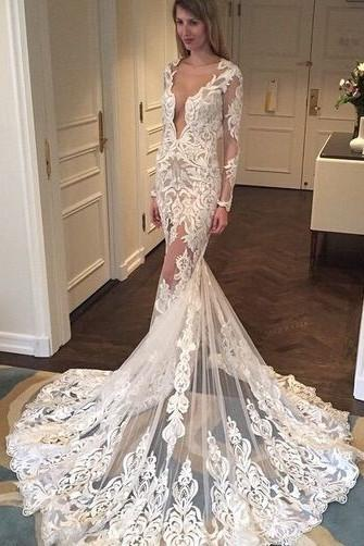 Attractive Lace Scoop Neckline Cut Out Column Wedding Dress Wd051 Bohoprom