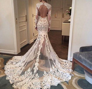 BohoProm Wedding Dresses Attractive Lace Scoop Neckline Cut-out Column Wedding Dress WD051