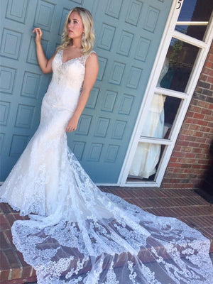 BohoProm Wedding Dresses Attractive Lace V-neck Neckline Mermaid Wedding Dresses With Rhinestones WD073