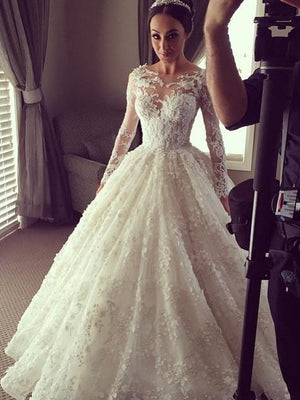 BohoProm Wedding Dresses Attractive Tulle Bateau Neckline Ball Gown Wedding Dresses With Appliques WD013
