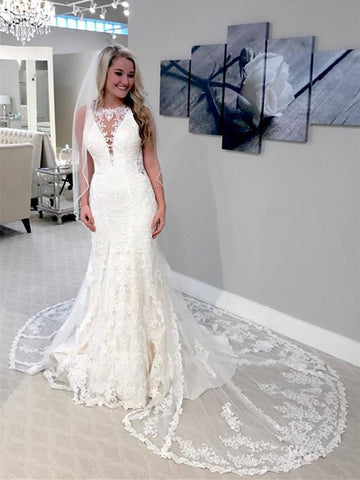BohoProm Wedding Dresses Beautiful Lace Jewel Neckline Mermaid Wedding Dresses With Pleats WD096