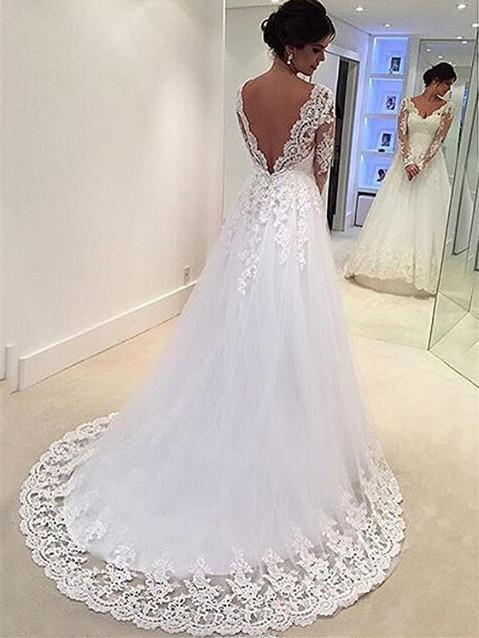 BohoProm Wedding Dresses Beautiful Tulle V-neck Neckline A-line Wedding Dresses With Appliques WD027