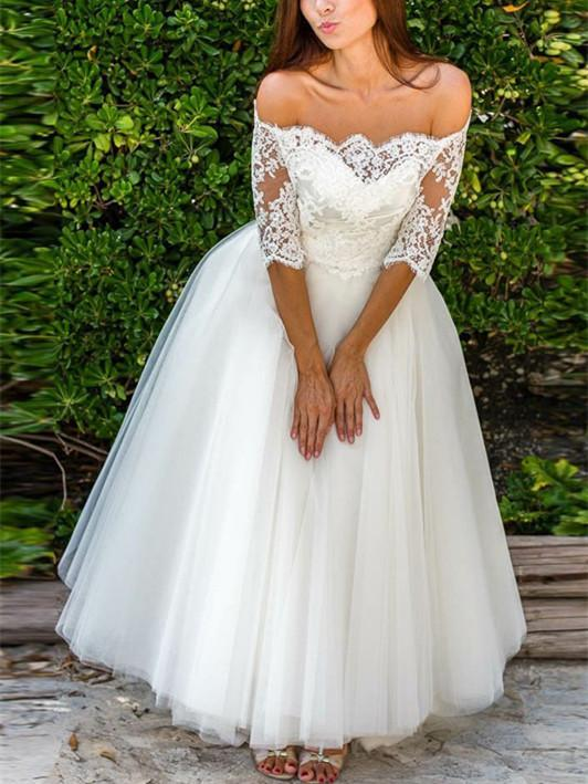 BohoProm Wedding Dresses Brilliant Tulle Off-the-shoulder Neckline Floor-length A-line Wedding Dresses WD083
