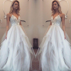 BohoProm Wedding Dresses Charming Lace & Tulle Floor-length A-line Wedding Dresses WD146