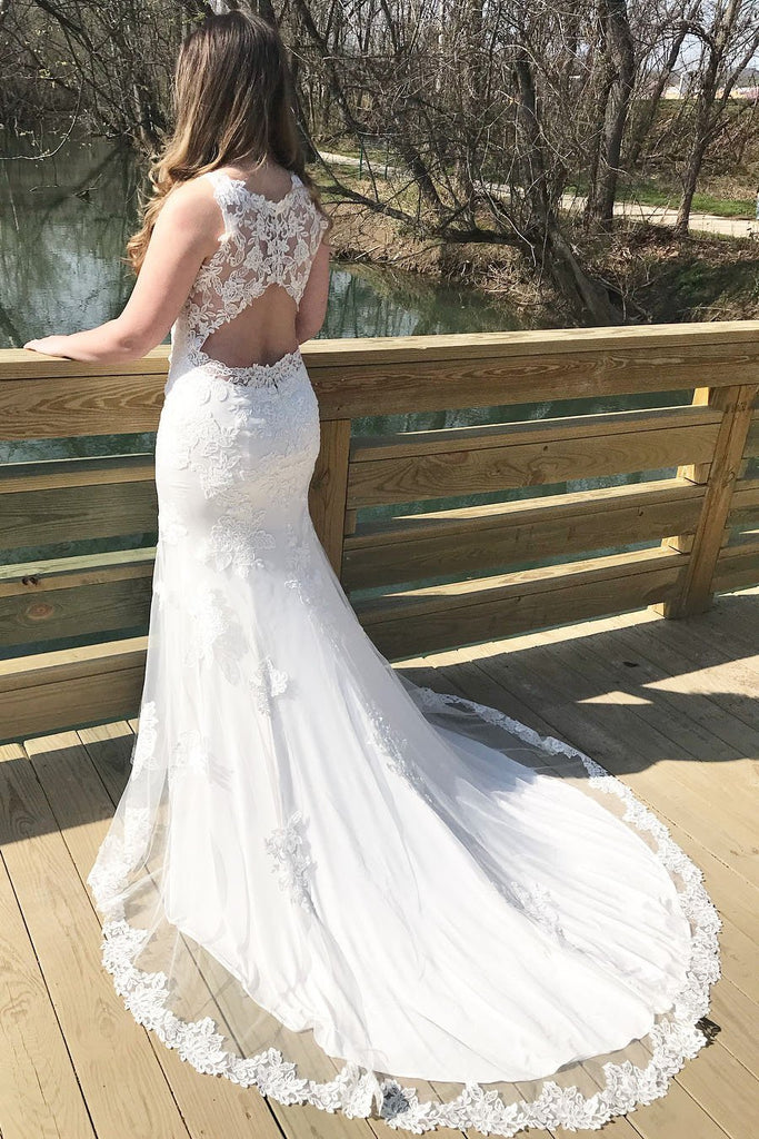 BohoProm Wedding Dresses Charming Tulle Bateau Neckline Sheath Wedding Dresses With Appliques WD060