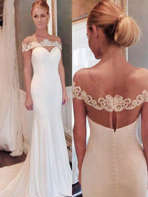 BohoProm Wedding Dresses Chic Acetate Satin Scoop Neckline Sheath Wedding Dresses With Appliques WD021