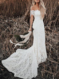 BohoProm Wedding Dresses Chic Lace Off-the-shoulder Neckline Chapel Train Sheath Wedding Dresses WD120