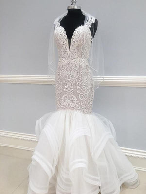 BohoProm Wedding Dresses Chic Lace & Tulle V-neck Neckline Floor-length Mermaid Wedding Dress WD059