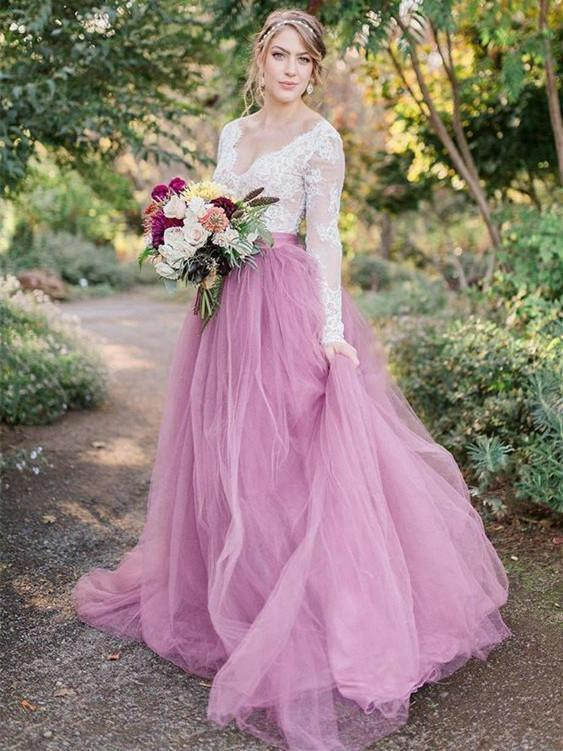 BohoProm Wedding Dresses Chic Lace & Tulle V-neck Neckline Long Sleeves A-line Wedding Dresses WD153