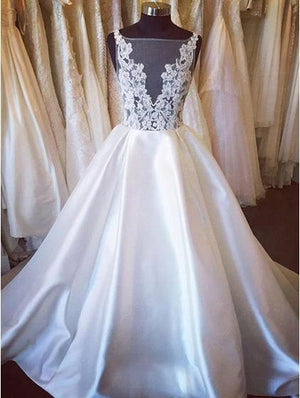 BohoProm Wedding Dresses Chic Satin Bateau Neckline Chapel Train A-line Wedding Dress WD036
