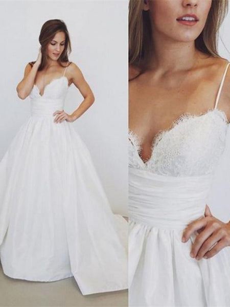 BohoProm Wedding Dresses Chic Satin Spaghetti Straps Neckline A-line Wedding Dresses With Appliques WD129