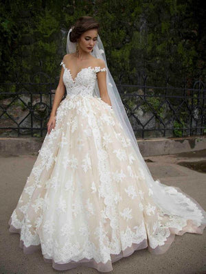 BohoProm Wedding Dresses Delicate Lace Off-the-shoulder Neckline Ball Gown Wedding Dresses With Appliques WD099