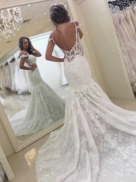 BohoProm Wedding Dresses Delicate Lace Spaghetti Straps Neckline Mermaid Wedding Dresses With Appliques WD024