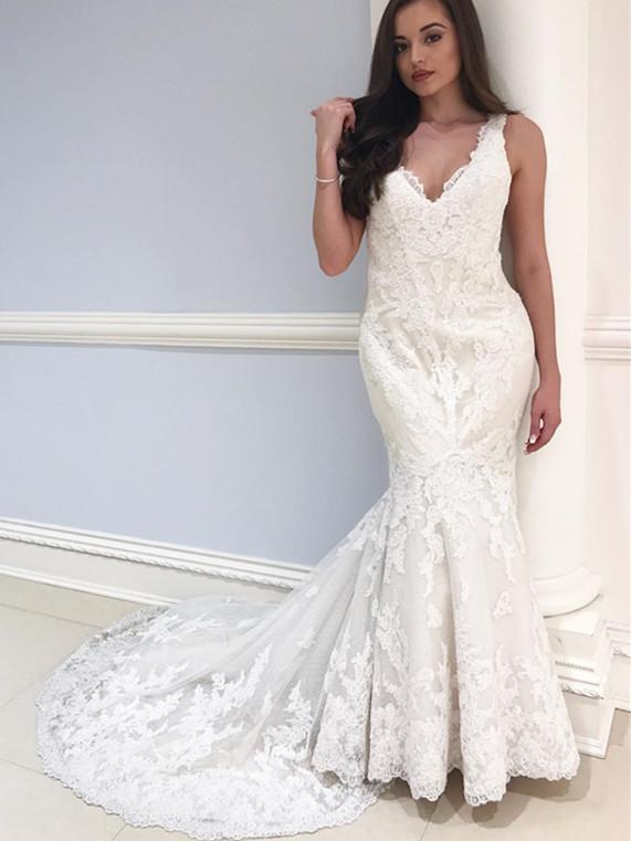 BohoProm Wedding Dresses Delicate Lace V-neck Neckline Chapel Train Mermaid Wedding Dress WD071