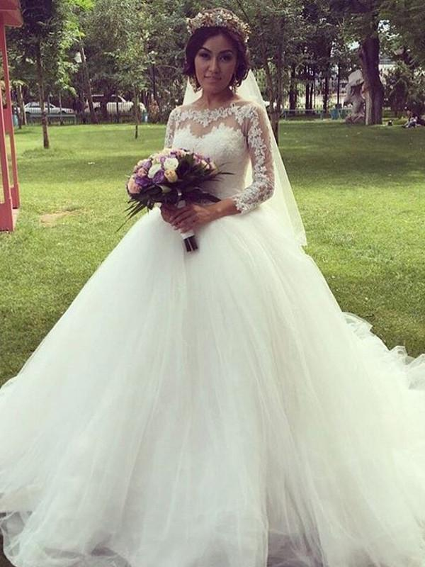 BohoProm Wedding Dresses Delicate Tulle Jewel Neckline Chapel Train Ball Gown Wedding Dresses With Appliques WD046